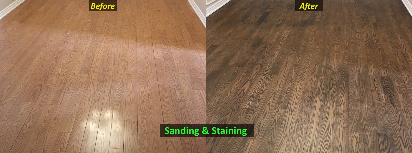 before and after of a floor sanded and stained