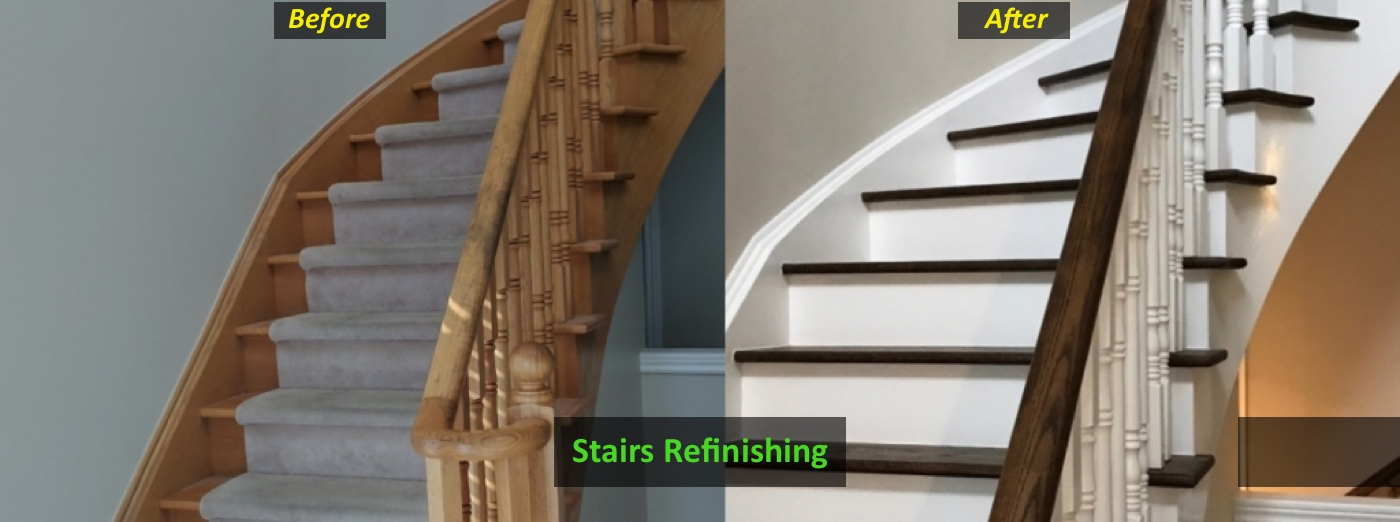 before and after of a stairs refinished removing carpet